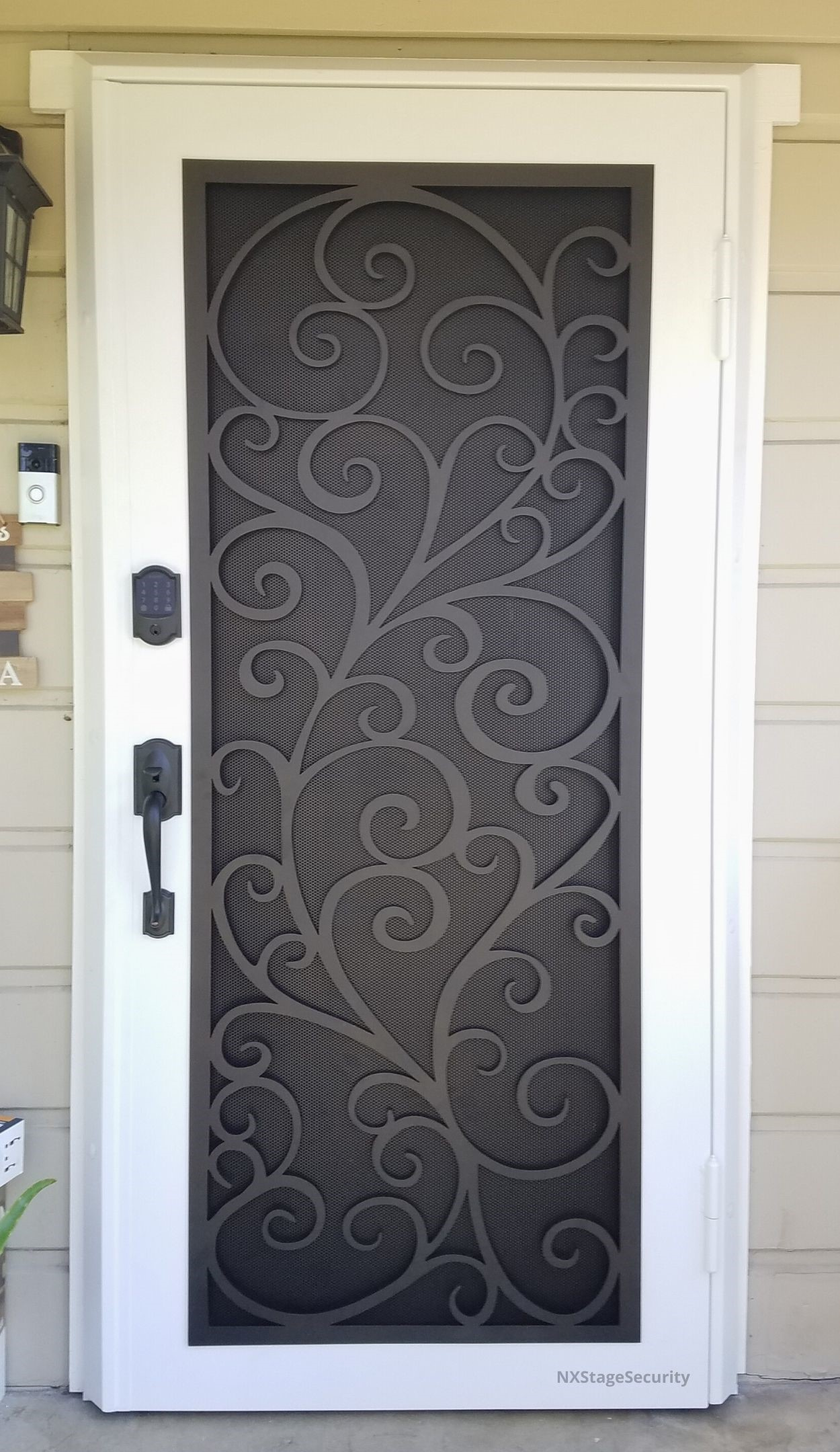 SINGLE SECURITY SCREEN DOOR WITH SCROLL ART WHITE BLACK MIKES MOBILE STEVES MOBILE SECURITY
